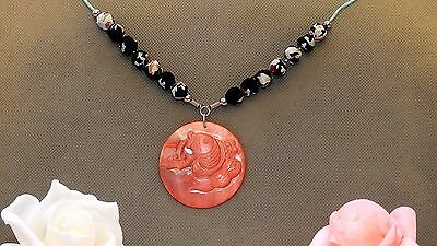 Oriental hand carved japanese koi pendant necklace silk beads