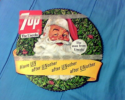Rare Vintage 7 Up Christmas Store Advertising Display Wreath
