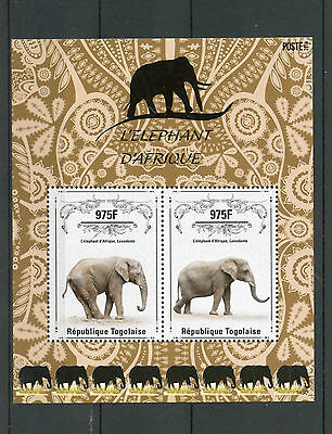 Togo 2014 MNH African Elephant 2v S/S II Wild Animals Elephants Stamps