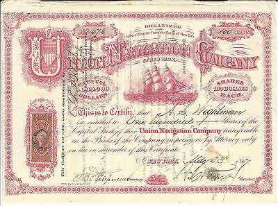 1867 NEW YORK Union Navigation Company of New York Stock Certificate