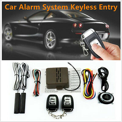 8Pcs Car Security Alarm System Starter Keyless Entry Remote Start &Push Button