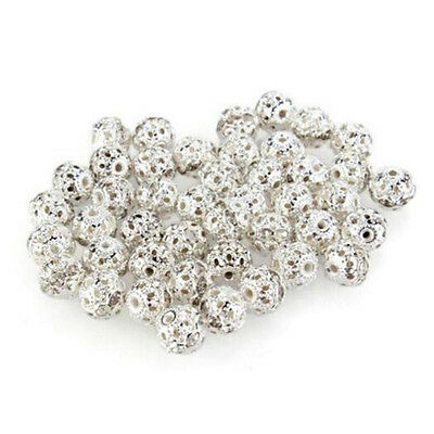 100pcs Antique Silver Plated Hollow Filigree Spacer Beads 10mm Chic Beads