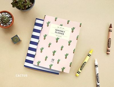 Diary Monthly Planner ICONIC New A6 Paper Scheduler Journal Book - Cactus