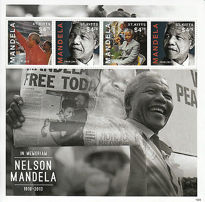 St Kitts 2013 MNH Nelson Mandela in Memoriam 4v M/S II Politicians Stamps