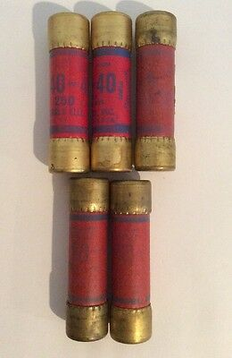 Set of (5) EAGLE 40 AMP & 60 AMP 250V NON-RENEWABLE CARTRIDGE FUSES