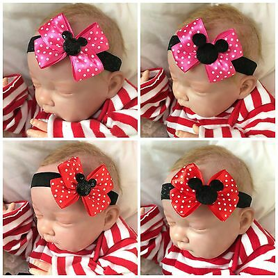 Baby Girl Black Headband with Red or Pink Polka Dot Minnie Mouse Bow