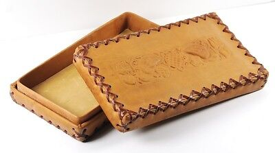 Hungarian Leather Box with Kalocsa Folk Art Motive, Antique Vintage Handmade