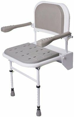NRS Healthcare Folding Shower Seat with Legs, Padded Seat, Padded Backrest...