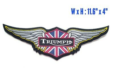 "11.6x4"" LARGE WING TRIUMPH MOTORCYCLE BIKER CLUB IRON ON JACKET PATCH + FREESHIP"