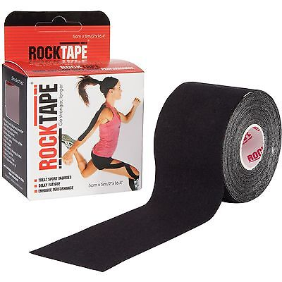 Rocktape Kinesiology Tape for Athletes - 2 Inch x 16.4 Feet Muscle Black Sports