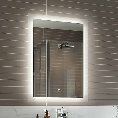 500 x 700 mm Illuminated LED Bathroom Mirror Vanity Light Sensor + Demister...