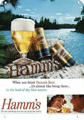 1960 HAMM'S BEER Replica Metal Sign CANS -WOOD CARVING & LAND OF BLUE SKY WATERS