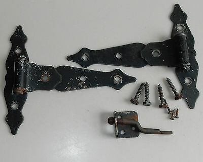 """Vintage Black Colonial Traditional Painted Steel Heavy Duty Gate Hinges Latch 8"""""""