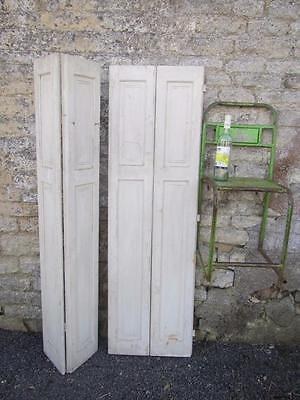 VINTAGE WOODEN FRENCH  WINDOW SHUTTERS Bi Folding PAIR FREE POST 160 CM TALL