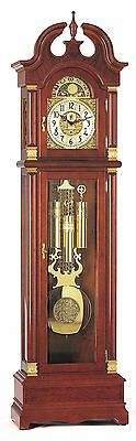 NEW BilliB Guildhall Grandfather Clock with Bonnet Top, Triple Chime, Walnut