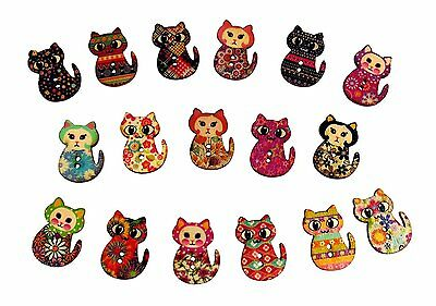 50 x Wooden Patterned Cat Buttons - Crafts, Embellishments, Card Toppers