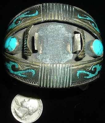"""Old """" Tommy Singer """" Watch Cuff, Morenci Turquoise. Magnificent!"""