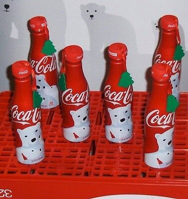 Coca Cola Aluminum  Bottle Tree Ornaments~6-Pk~With 2016 Bears~8.5 Fl.oz.~Full