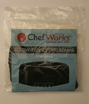Chef Works  DFAO-BLK  Allover Cool Vent Black Beanie Hat Cap Cook  One Size.