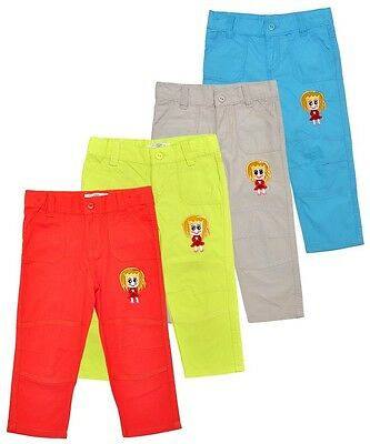 Girls Trouser Assorted Colour Embroidered Motif Cotton Pants. Sizes:2-6 Years