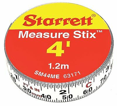 Starrett Measure Stix SM44ME Steel White Measure Tape with Adhesive Backing,
