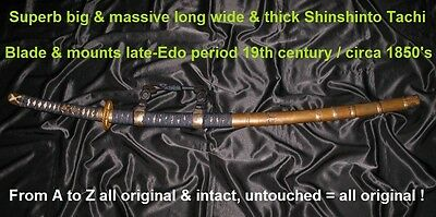 "31-3/4"" MASSIVE & SUPERB STRONG 19th C. SHINSHINTO TACHI Japanese Samurai sword"