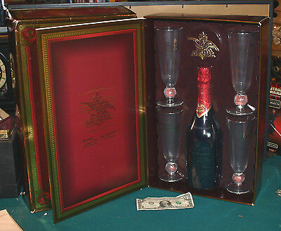 Budweiser Beer Millennium Limited Edition Bottle with  Four 12 Ounce Glasses NIP