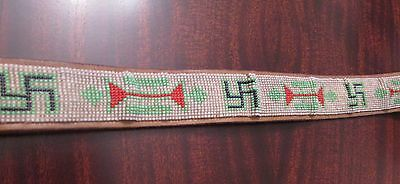 Antique Navajo Beaded Belt with Whirling Logs (Pre WW2 swastika motif )