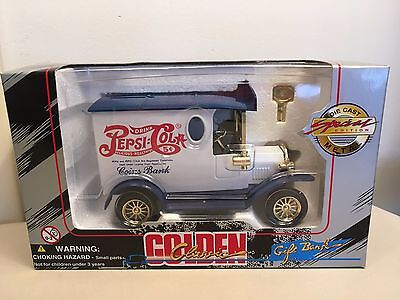 Golden Classic Diecast Pepsi Cola Delivery Truck Coin Bank - New!