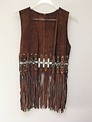 Vintage Brown Suede Long Fringe Vest Boho Hippie Chic Gypsy Rock Festival