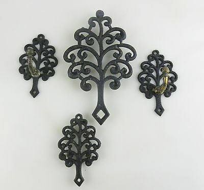 Griswold/Wilton 4pc Set FAMILY TREE  Cast Iron Trivet and Wall hooks/hangers