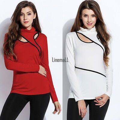 Sexy Women Turtleneck Cut Out Long Sleeve Patchwork Slim Blouse Tops LM02