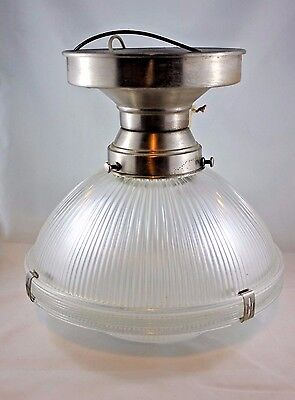 1950's Vintage Halophane Industrial Brushed-Stainless & Glass Ceiling Light