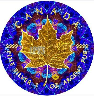 2016 1 Oz Silver BLUE KALEIDOSCOPE Maple Leaf Coin, With 24KT Gold Gilded.