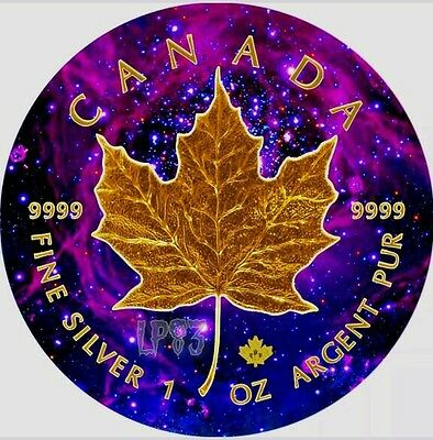 2017 1 Oz Silver UNIVERSE Maple Leaf Coin,With 24 Kt Gold Gilded.