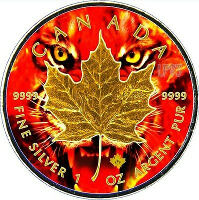 2017 1 Oz Silver FIRE TIGER Maple Leaf Coin,With 24KT Gold Gilded.