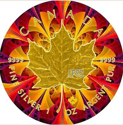 2016 1 Oz Silver Maple Leaf YELLOW KALEIDOSCOPE Coin,With 24KT Gold Gilded.