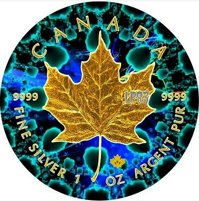 2016 1 Oz Silver Maple Leaf GREEN KALEIDOSCOPE Coin With 24k Gold Gilded.