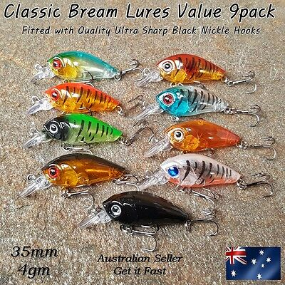 Lures 3.5 cm Crankbaits, Bream, Flathead, Redfin, Trout, Perch, Bass, Set of 9