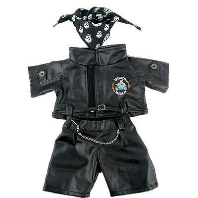 """BIKER with SKULL SCARF TEDDY CLOTHES FITS 16""""/40CM TEDDIES & BUILD YOUR OWN BEAR"""