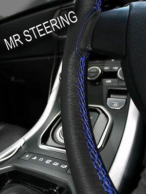 For Rover Mini 89-00 Black Leather Steering Wheel Cover Royal Blue Double Stitch