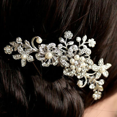 Bridal Jewellery Silver Rhinestone Crystal Wedding Flower Pearls Hair Comb Clip
