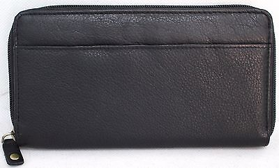 Quality Full Grain Zip Around Leather Purse. Colour: Black. Style No: 21061.