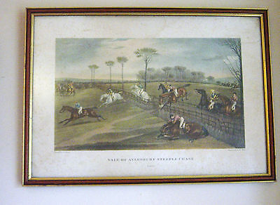 Full Set 4 Vintage 19th C Engravings.The Vale of Aylesbury Steeple Chase (1836)