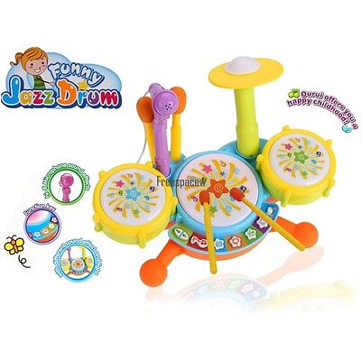 Drum Set For Kids Toys Gift Toddlers Baby Child Kids Beats Learn Music Fun