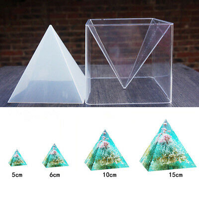 1pc Super Pyramid Silicone Mould DIY Resin Craft Jewelry Mold + Plastic Frame