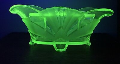 Green Uranium Depression Glass Art Deco 1930S Extra Large Footed Bowl/vase