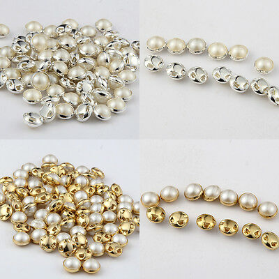 50Pcs 6/7/9/10/12mm flatback Pearl Buttons Embellishment Sewing Clothing Craft