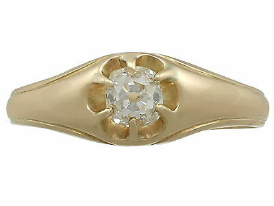 Contemporary and Antique 0.48 Ct Diamond and 18k Yellow Gold Gent's Solitaire