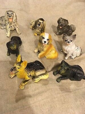 Vintage 1980s Pet Shop New Ray PVC Dog Lot, 8 Dogs Different Dog Breeds
